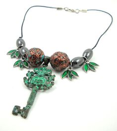 Aztec Princess Necklace key statement copper by HerBeautyFound