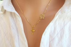 Star of David with Cross Necklace, Cross With #jewelry #necklace @EtsyMktgTool http://etsy.me/2wGkQu9