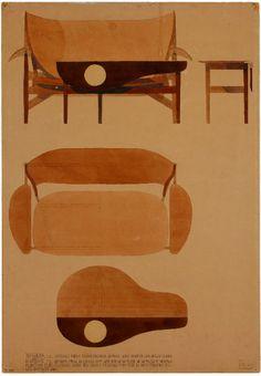 Sketches by Finn Juhl, Danish designer. 1930's