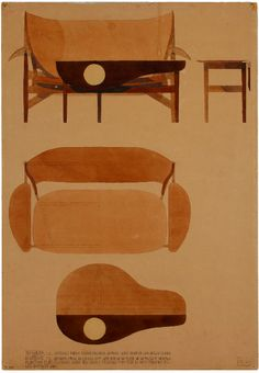 Sketches by Finn Juhl, Danish designer. 1930's