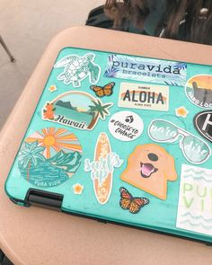 """☆☆ """"i redecorated my school chrome book with a bunch of my new sticker designs! lmk what you think! 🤩💫🦋(and tap to shop if ya want🧡) Macbook Air Stickers, Cute Laptop Stickers, Mac Stickers, Made Design, Homemade Stickers, Snapchat Stickers, New Sticker, Macbook Case, Aesthetic Stickers"""