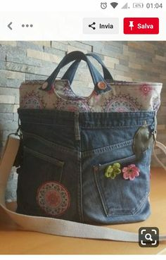old jeans with nice fabrics old jeans with nice fabrics . - old jeans with nice fabrics old jeans with beautiful fabrics This image has - Jean Purses, Purses And Bags, Patchwork Jeans, Denim Ideas, Denim Crafts, Recycled Denim, Denim Bag, Fabric Bags, Handmade Bags