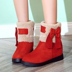 Women'S Round Roe Fur Lined Winter Warm Pull On Snow Boots Bowknots Dress Shoes