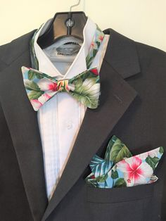 ea695691b374 Bright Hawaiian Morning Bow Ties and Pockets Squares, Self or Pre-Tied. Sky  blue with Vibrant tropical blooms, Hibiscus, Birds of Paradise