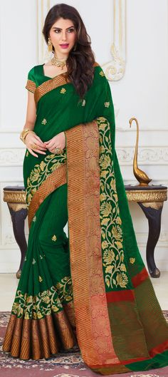 Traditional Green color Saree in Jute fabric with Thread work Jute Fabric, Traditional Sarees, Thread Work, Green Colors, Sari, Fashion, Saree, Moda, Colors Of Green