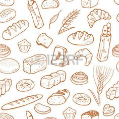 Hand drawn bakery on white background. Seamless pattern background photo