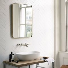 Fired Earth Victorian Matt White Metro Wall tiles / New / Bathroom Mirror Design, Loft Bathroom, Bathroom Flooring, White Bathroom, Bathroom Interior, Family Bathroom, Bathroom Ideas, Simple Bathroom, White Herringbone Tile