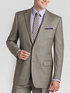 Ralph Lauren Taupe Sharkskin Classic Fit Suit from MensWearhouse.