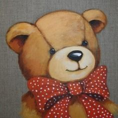 "Tableau peinture ours sur lin :""mon beau noeud papillon à pois"" Tatty Teddy, Tole Painting, Fabric Painting, Art D'ours, Bear Paintings, Teddy Bear Pictures, Mug Cozy, Decoupage, Country Paintings"