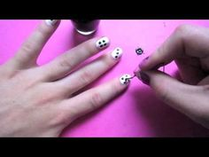 Dice Nail Art - Short Nails (I learned here that you can use a bobby pin as a dotting tool.)