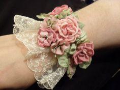 wedding cuff bracelet | ribbon flower cuff by lambsandivydesigns.com, via Flickr