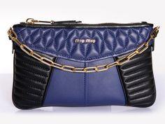 2014 Miu Miu Bicolor Matelasse Nappa Leather Mini Bag RP0367 in Ink Blue/Black