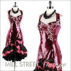 Vintage 1980s Dress . Fuchsia Pink Sequins . Halter Neck .