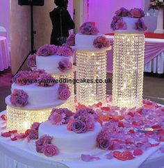Wedding Cake Stand Cascade waterfall crystal set of 4 Asian Wedding Crystal cake Stand wedding with a battery operated LED light.- LIGHTS UNDER CAKE Purple Wedding, Our Wedding, Dream Wedding, Light Wedding, Wedding Flowers, Cake And Cupcake Stand, Cupcake Cakes, Cupcakes, Wedding Cake Stands