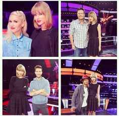 Taylor,Gwen Steffanj, Blake Shelton, Adam Levine, and Pharrel Williams on The Voice.