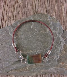 Moss Agate on Stainless Steel / Leather Bracelet by EndogenousDesigns on Etsy