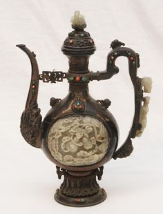 Large Chinese Silvered Metal Teapot with Jade Inlay. 19th-20th c.