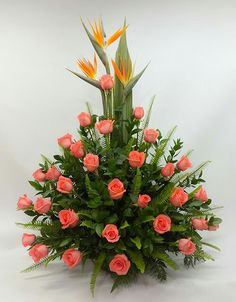 """Learn more information on """"long stem roses bouquet"""". Browse through our website. Altar Flowers, Church Flowers, Funeral Flowers, Large Flower Arrangements, Funeral Flower Arrangements, Flower Vases, Exotic Flowers, Tropical Flowers, Beautiful Flowers"""