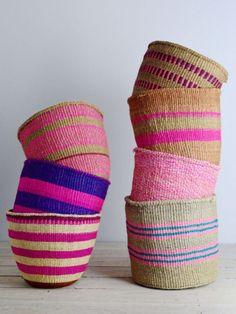 Kenyan basket: Pink Collection from Decorator's Notebook Textiles, Handmade Furniture, Summer Colors, Basket Weaving, Woven Baskets, Seagrass Baskets, Bamboo Weaving, Wicker, Rattan