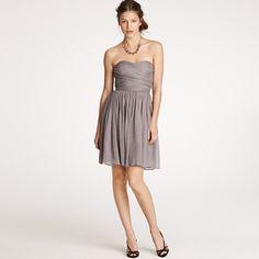 JCrew Arabelle dress, silk chiffon, $225 - graphite, matisse blue, bright coral, black or newport navy