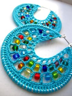 Crocheted hoops with beads by BohemianHooksJewelry on Etsy