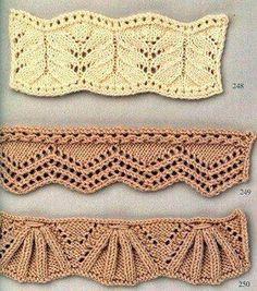 Оригинальные резинки спицами. Схемы вязания резинок спицами