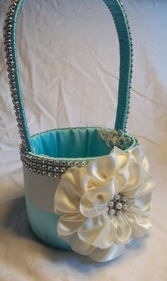 Tiffany Flower Girl Basket with an Ivory Satin Flower and Rhinestone Mesh handle and Trim, Bling Wedding Basket, Custom Made to Order