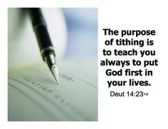The purpose of tithing.  #Tithing