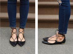 Deals & Steals: Aquazurra Christy Lace-Up Flats! Flat Shoes Outfit, Me Too Shoes, Lace Up Flats, Gold Flats, Pump Shoes, Shoe Boots, Pumps, Only Shoes, Pretty Shoes
