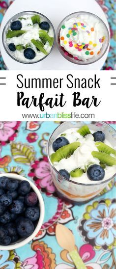 Make a Summer Snack Parfait Bar with your favorite fruit and sprinkles! This is an easy and delicious recipe that your family will enjoy! Everyone needs a fun summer snack food. Snack Recipes, Dessert Recipes, Cooking Recipes, Healthy Recipes, Party Desserts, Healthy Foods, Healthy Treats, Yummy Treats, Healthy Protein
