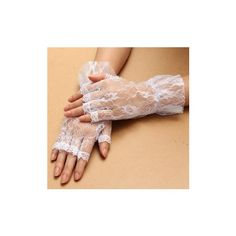 Women Ladies Fingerless Lace Gloves With Ruffle ($3.89) ❤ liked on Polyvore featuring accessories, gloves, black, party gloves, lace gloves, white fingerless gloves, fingerless gloves and white gloves