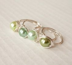 Green Pearl Ring Bridal Wedding Gifts under 10 by mlwdesigns
