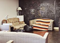 Youth Room makeover. This chalkboard look would look great in a kid's or teenager's room.