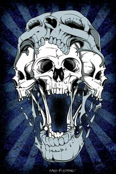 Triple Cartoon Skull