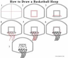 Basketball drawings: how to draw a basketball hoop step drawing tutorial wi Basketball Crafts, Basketball Signs, Basketball Drawings, Sports Drawings, Basketball Posters, Basketball Birthday, Basketball Hoop, Basketball Doodle, Basketball Cookies