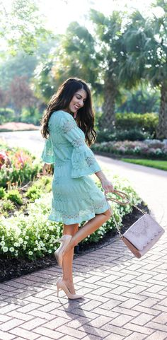 Mint Green Lace Shift Dress with Bell Sleeves  Mint Green Lace Shift Dress  Beautiful Spring Mint Green Lace Shift Dress  Affordable Fashion. Spring Dresses. Beautiful Spring Dresses. Spring Pastels. Spring Pastel Dress. Lace Dress. Dress with Bell Sleeves. Modest Fashion. Modest Dresses. Dresses for Church. Houston Blogger Naomi Trevino of Finite1.