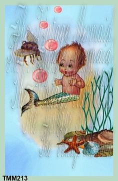 Merbaby Quilts Applique Baby Mermaid Fabric by QUILTFABRICBLOCKS, $6.00