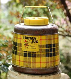 Vintage Tartan Jug Thermos, Yellow Red Black Plaid with Handle Vintage Love, Vintage Yellow, Apple Spice Cake, Tweed, Picnic Time, Summer Picnic, Vintage Picnic, Scottish Plaid, Red And Black Plaid