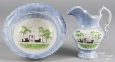 Blue spatter pitcher and basin with fort decoration, 10 1/4'' h. and 4 1/2'' h., 12 1/4'' dia. - Price Estimate: $100 - $200