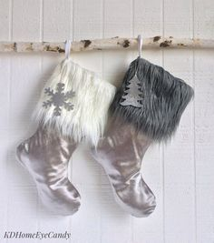 Set of 2 Christmas Stockings Silver Christmas by KDHomeEyeCandy