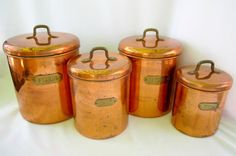 Copper Canisters Kettle Pots Nesting Vintage by GoshenPickers
