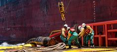 offshore crew vessel during hose lifting operation #offshore