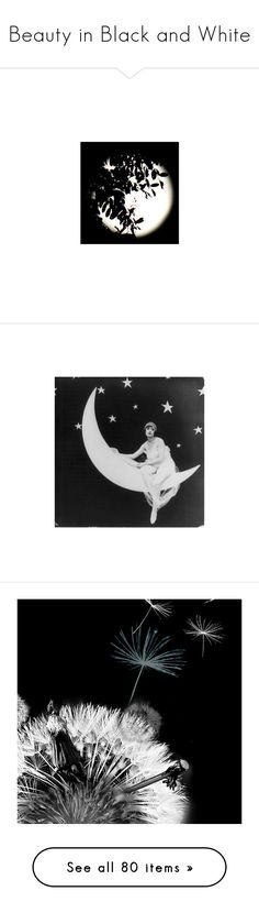 """Beauty in Black and White"" by funkyjunkygypsy ❤ liked on Polyvore featuring home, home decor, wall art, moon home decor, black and white home decor, new york home decor, black and white oil painting, black white home decor, halloween and backgrounds"
