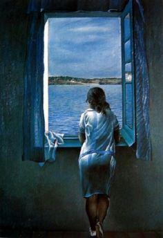 *#4 그들의 바람 *  창가에 서있는 소녀(1925) 살바도르 달리  달리의 여동생을 모델로 그린 작품이다.    좁고 어두운 실내와는 대조적으로 넓고 밝은 바다를 무심한 듯 바라보고 있는 여자아이의 뒷모습이 그려져 있다. 그녀는 무엇을 생각하고 무엇을 보고 있는 걸까?    그녀는 마치 자신의 세상과는 대조되는 드넓은 바다로, 저 너머 다른 세계로 꿈꾸는 듯한 혹은 그러한 세계로 데려다 줄 누군가를 기다리는 듯한 모습이다.    감상자에 따라 이상향을 바라보며 꿈에 부풀은 그녀의 뒷모습일 수도 있고 혹은 너무나도 멀어져 버린 이상향에 대한 그리움을 느끼는 모습일 수도 있다.     후에 이 것을 그린 이유가 달리의 왕성한 꿈에 대한 해방, 초현실주의의 시작을 알리는 그림이라는 의견이 있다.