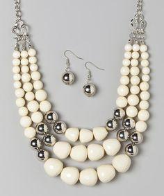 Silver & White Graduated Bead Bib Necklace & Earring Set
