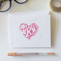 Monogrammed Heart & Flowers Stationery Boxed Set
