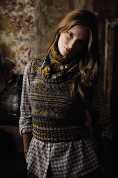 Rowan Magazine 54. From the story, Folk, comes Ukraine designed by Marie Wallin using Colourspun and Rowan Tweed.