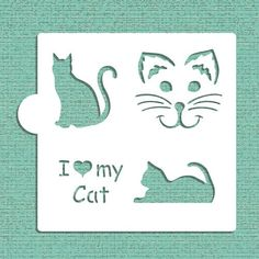 I Love My Cat Cookie and Craft Stencil CM028 by Designer Stencils ** Details can be found by clicking on the image.