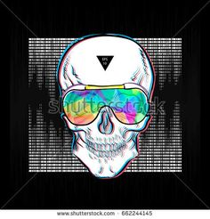 Skull in sunglasses iridescent mirrored sunglasses on sound wave background. Vector illustration EPS10. Design a poster for a t-shirt. Great cool print on the sweatshirt. Black and white human skull.