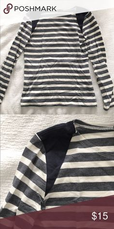 J.Crew faux suede shoulder striped shirt Great condition. Only worn once or twice. J. Crew Tops Tees - Long Sleeve